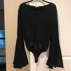 Abbeline bell sleeve black bodysuit